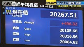 株価2万円台回復 抗ウイルス薬「症状改善」を好感(20/04/30)