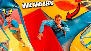 NERF Hide And Seek In Worlds LARGEST TRAMPOLINE PARK