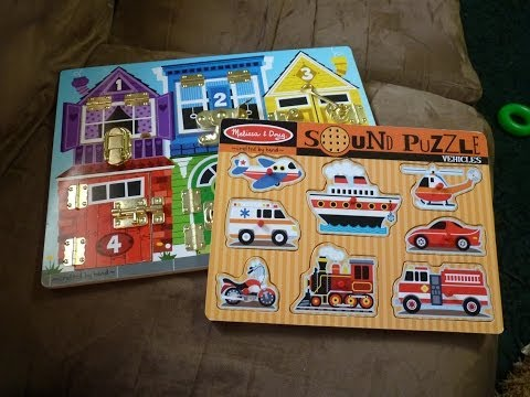 Review of Melissa & Doug Vehicle Sound Puzzle and Counting Latches Board Puzzle
