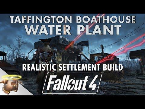 TAFFINGTON BOATHOUSE WATER PLANT - Realistic Fallout 4 settlement tour & battle!