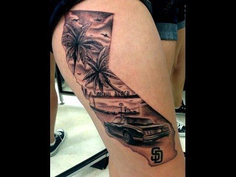 Jesus Sanchez working on a custom california tattoo (wylde sydes tattoo)