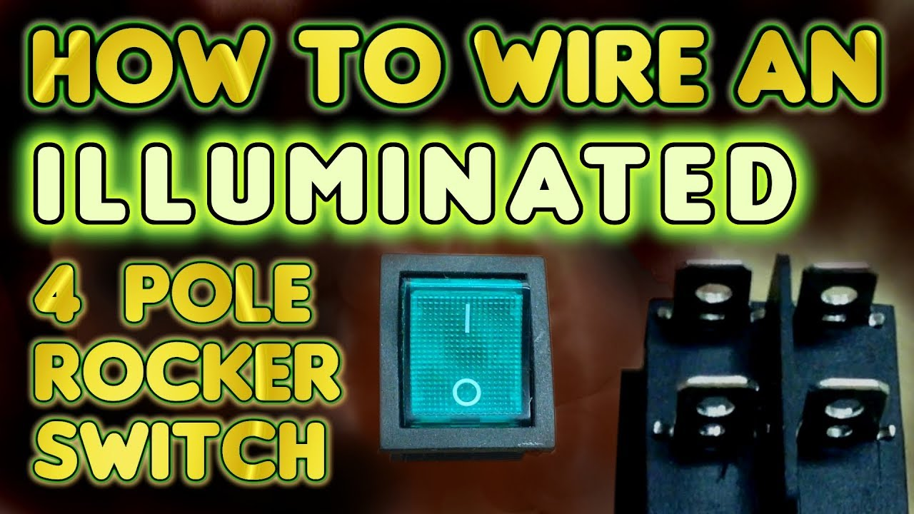 How to wire an illuminated 4 Pole    rocker    switch KCD4  by