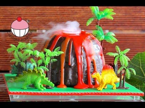 Make a Smoking Volcano Cake , Dinosaur / Hawaiian Party , A Cupcake  Addiction How To Tutorial