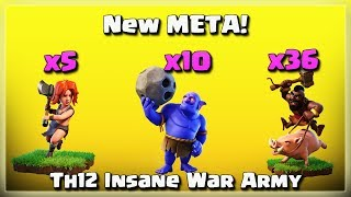 New META! 10 Bowler+36 Hog+5 Valks | After JUNE Update | TH12 War Strategy #29 | COC 2018 |