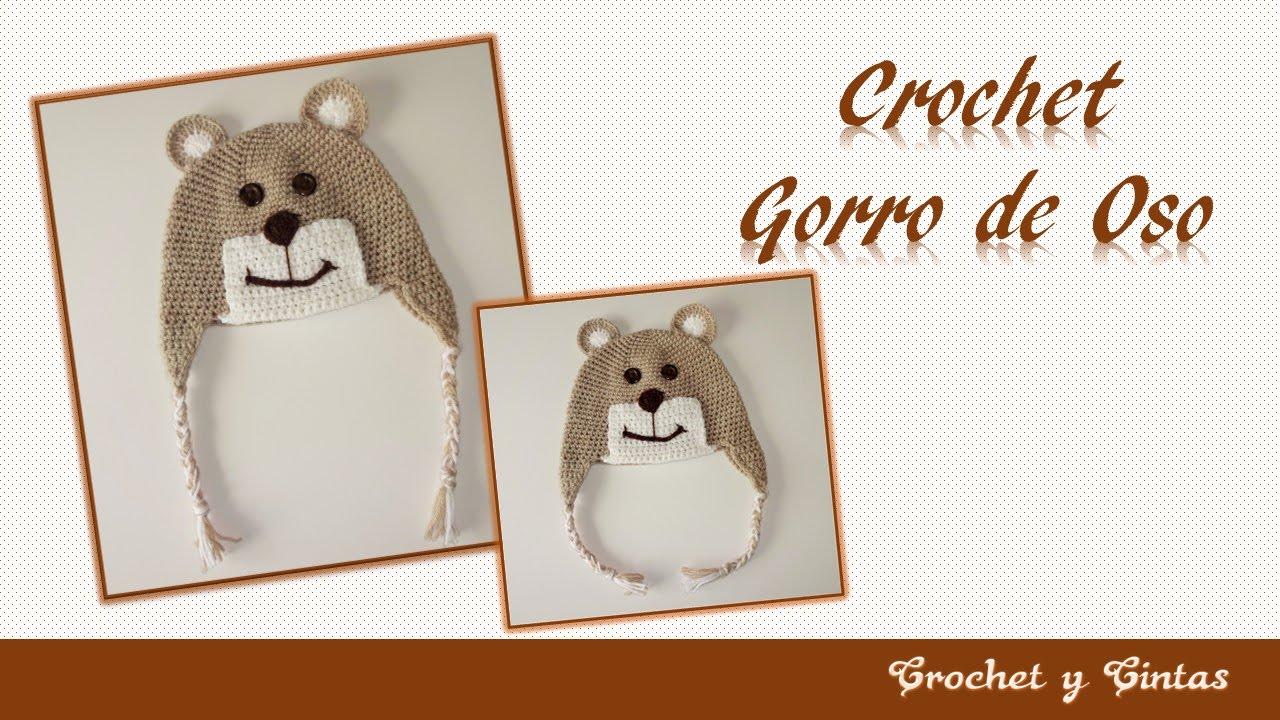 Gorro de oso tejido a crochet ganchillo para niños parte 2 - YouTube