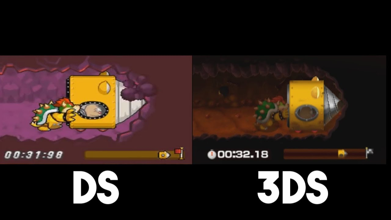 Mario Luigi Bowser S Inside Story 3ds Vs Ds Underground Tunnel