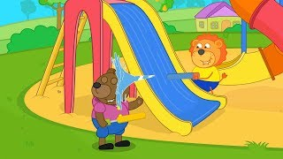 Lion Family Instead of Smartphones playing with Friends Cartoon for Kids