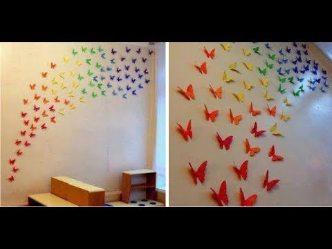 How To Make A Paper Butterfly Wall Decor Art Youtube
