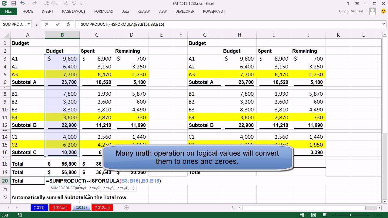 Excel Magic Trick Automatically Add All Subtotals In