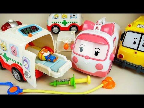 Pororo ambulance Kinder Joy Surprise eggs and Robocar Poli doctor kit toys