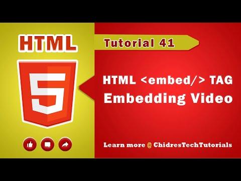 HTML Video Tutorial - 41 - Html Embedding  Video