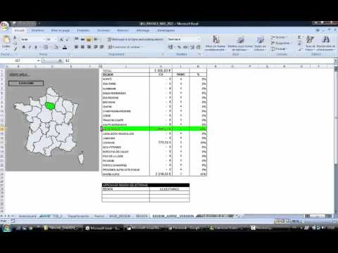 EXCEL 2007 CARTE GEO FRANCE REGION INTERACTIVE EXEMPLE V2 DEMO