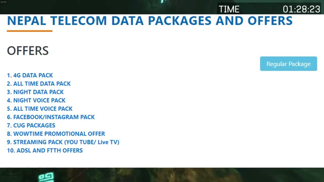 Nepal telecom all packages and offers full details