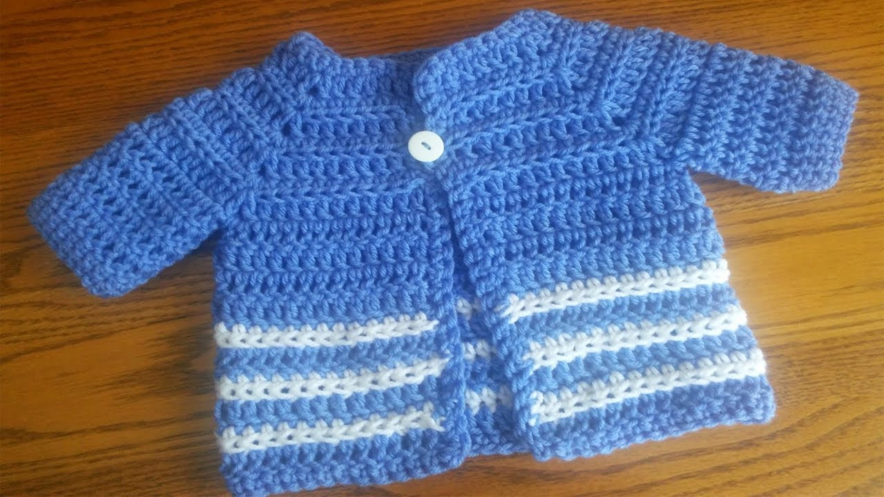 cb542051f952 Simple Baby Sweater Crochet Project - YouTube