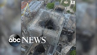 Drone footage shows aftermath of Notre Dame fire damage from above| ABC News