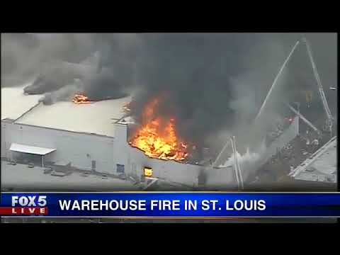 5-alarm fire warehouse fire in St. Louis, Missouri