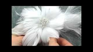 Elegant Feather Flower Bridal Hair Comb by Hair Comes the Bride