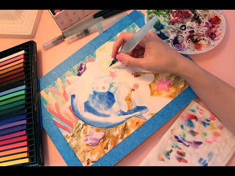 Painting Popplio and Primarina with Watercolours (ASMR softly spoken/whispering)