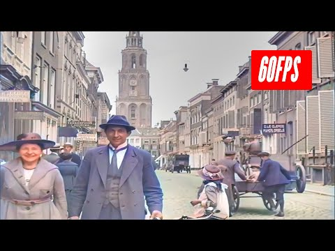 Nederland (Groningen) in de jaren 1919 in kleur, w/added sound ambient!