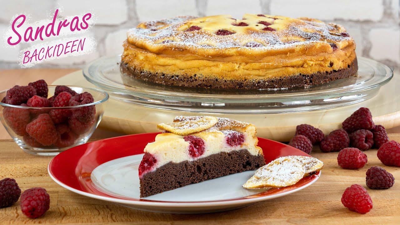 Quarkkuchen mit Himbeeren und Schokoboden - lecker und leicht nachgemacht / Himbeer Schmand Kuchen