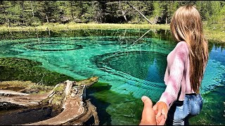 Влог Алтай. Упала в Гейзерное озеро. Прыжки в воду. Ледники Алтая