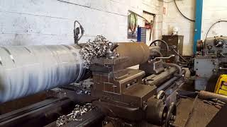 """Turning 304 stainless steel to 10"""" Dean Smith and Grace type 21 lathe."""
