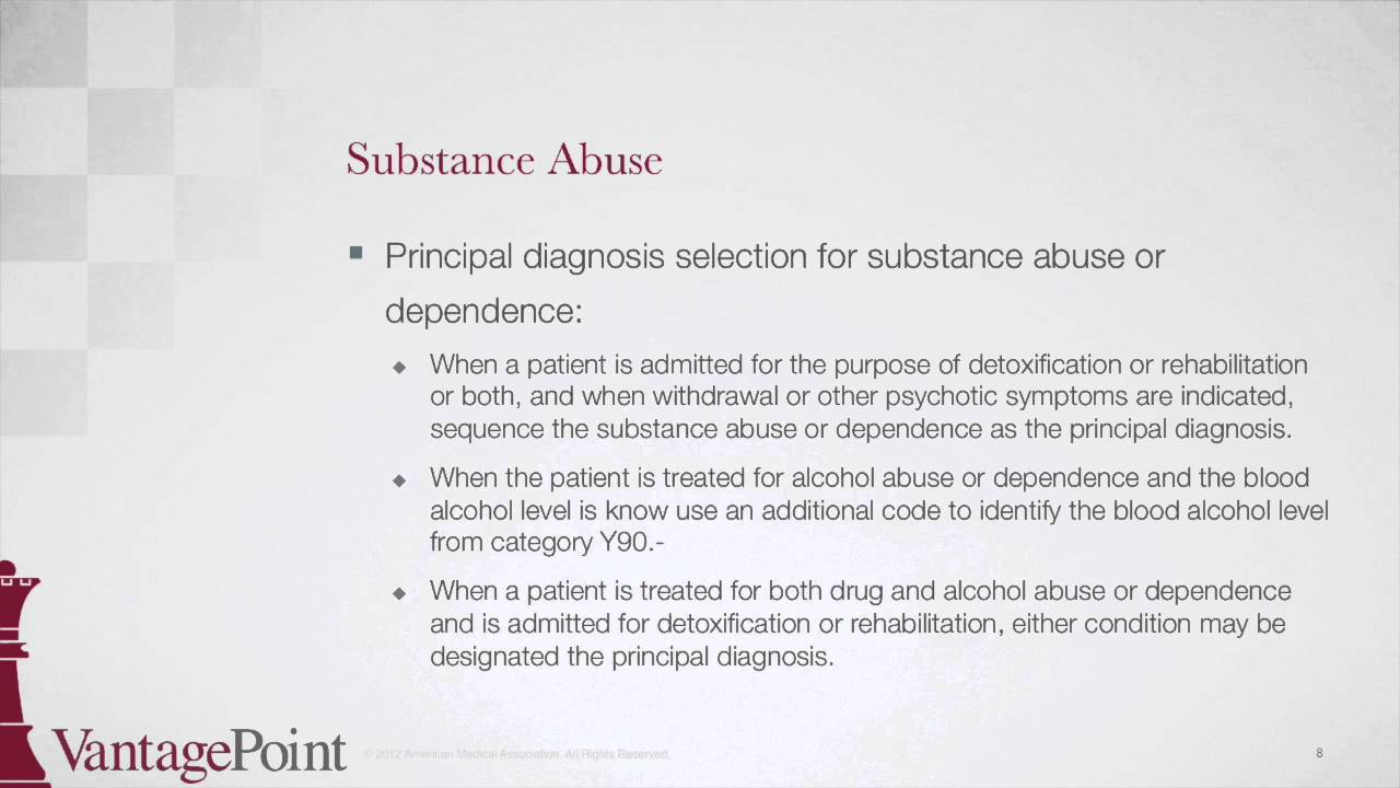 substance abuse icd 10 codes