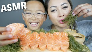 ASMR SALMON SASHIMI & SEA GRAPES *No Talking Eating Sounds Mukbang | N.E Let's Eat