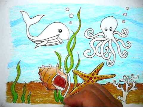 How To Color The Picture Of Sea Life Cara Mewarnai Gambar Kehidupan