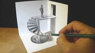 Drawing Spiral Stairs - How to Draw 3D Caracole - Anamorphic Corner Art - Vamos