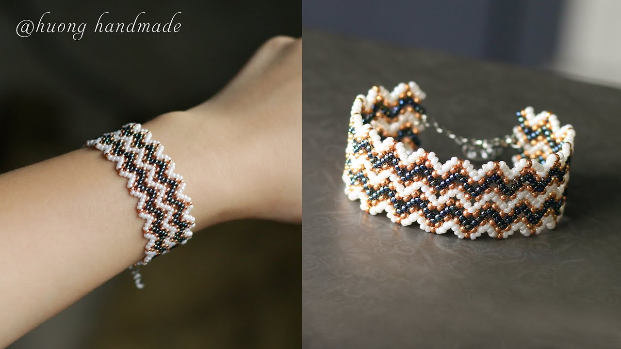 Diy chevron lace beaded bracelet. Jewelry making