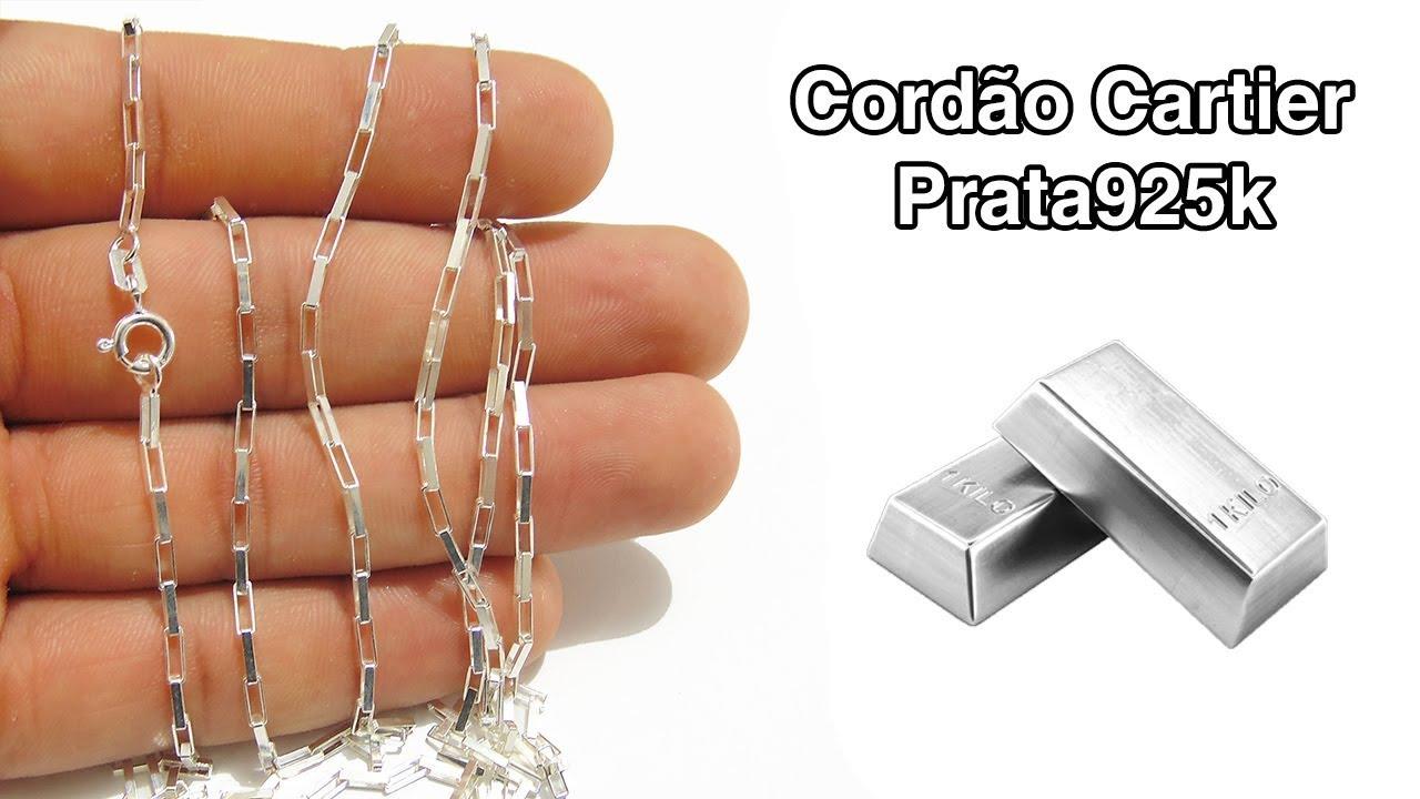 228e308975b corrente cordão masculino 80cm cartier em prata italiana 925 - YouTube