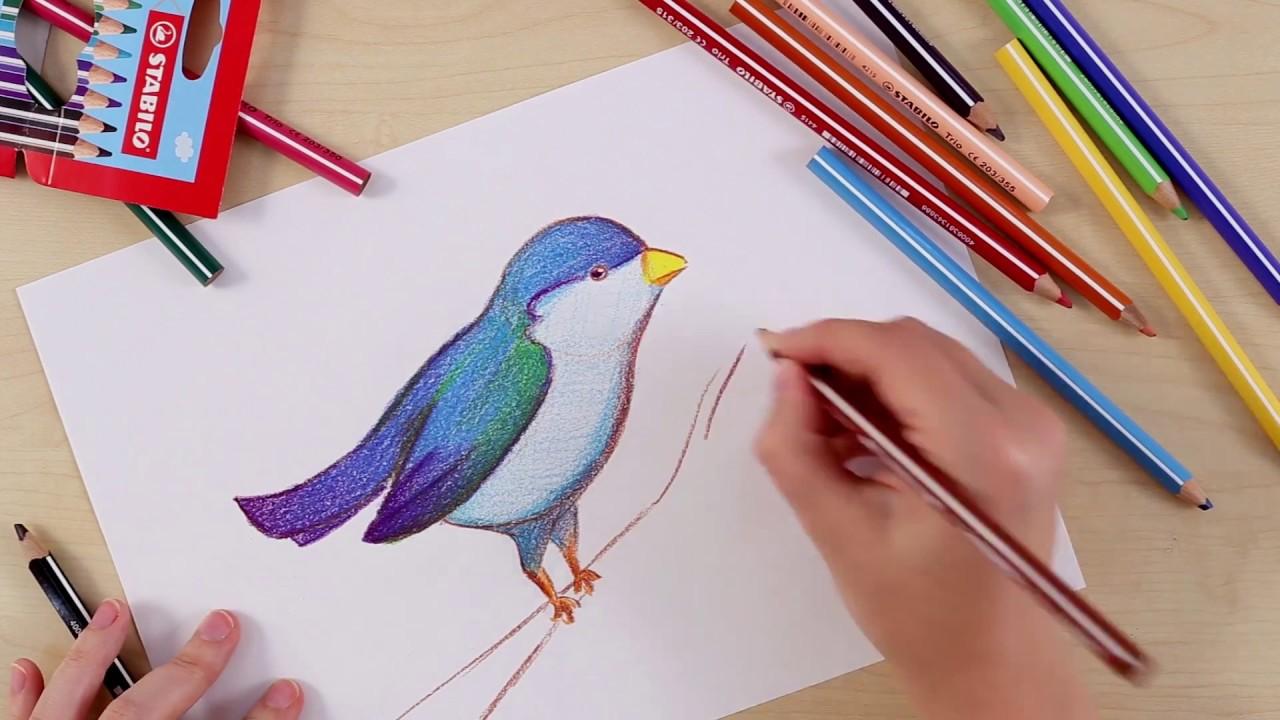 Hoe teken je een vogel stabilo tekentutorials gemiddeld youtube - Hoe je een eigentijdse inrichting van ...