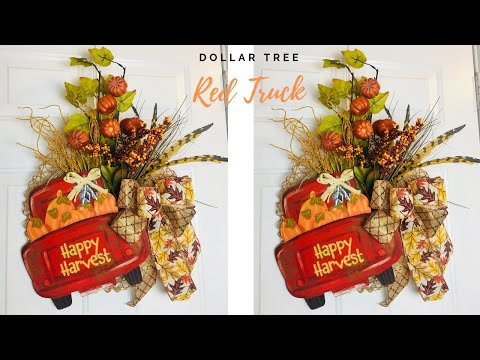 Dollar Tree Fall Red Truck DIY Wreath 🌻