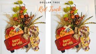 Dollar Tree Fall Red Truck DIY Wreath 🌻
