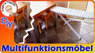 Neue Challenge Multifunktionmöbel selber kreieren | Bügelbrett im Esstisch? Verrückt? | IngosTipps