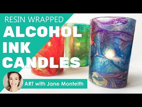 Alcohol Ink and Resin Wrapped Candle Holders