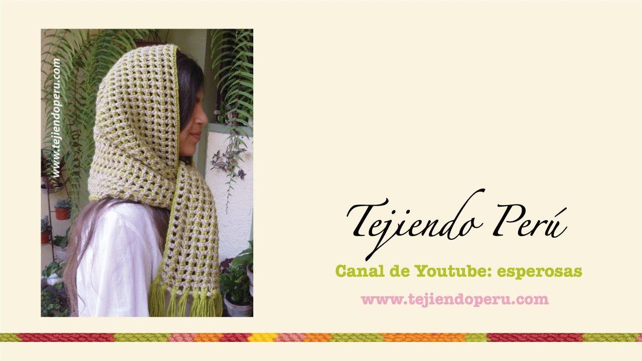 Bufanda con capucha tejida a crochet en el punto cobija - YouTube