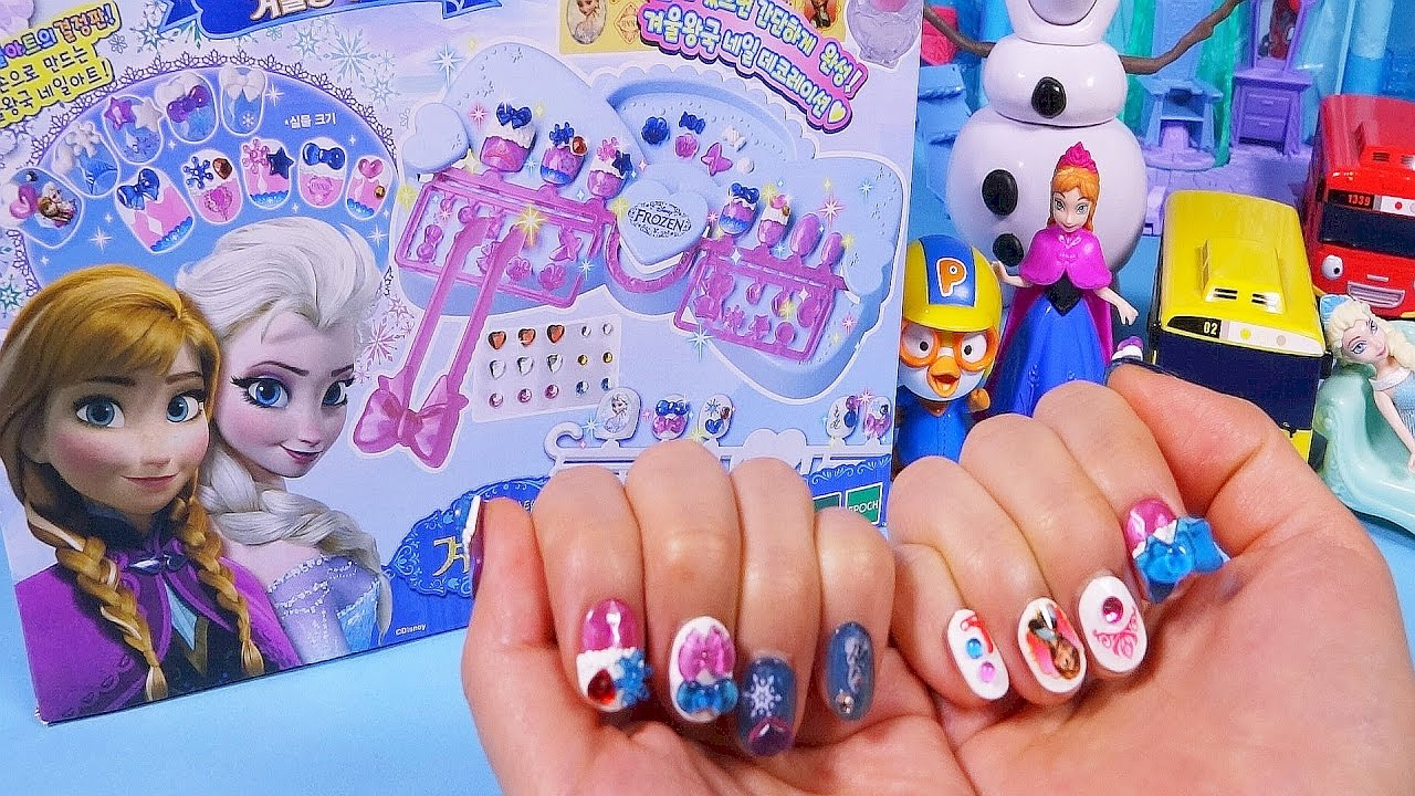 Disney Frozen Elsa Nail art with castle set toys and Ice cream cake ...