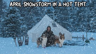 Spring Snowstorm Camp with My Dogs - 2 Feet of Snow in April