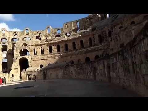 HD video filmed inside the huge Roman amphitheatre of El Djem (El Jem) in Tunisia