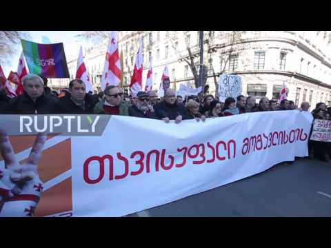 Georgia: Thousands march in Tbilisi in support of anti-govt. TV station