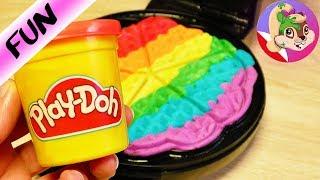 GOFROWNICA i CIASTOLINA Play Doh - próbujemy zrobić tęczowego gofra dla lalek