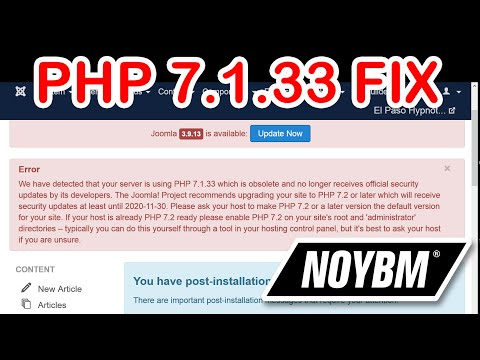 QUICK FIX FOR JOOMLA We Have Detected That Your Server Is Using PHP 7.1.33 Which Is Obsolete/ Joomla
