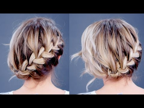 Simple Diagonal French Braid Updo