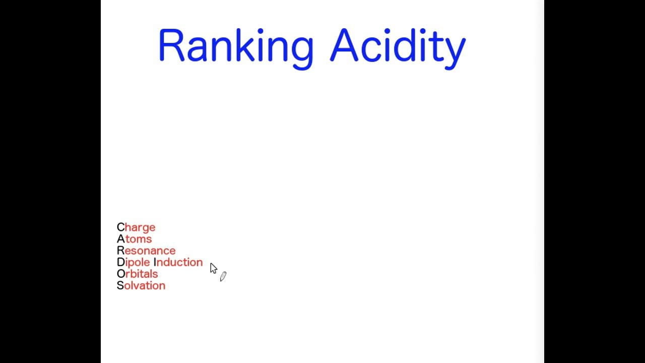 how to rank acidity in organic chemistry