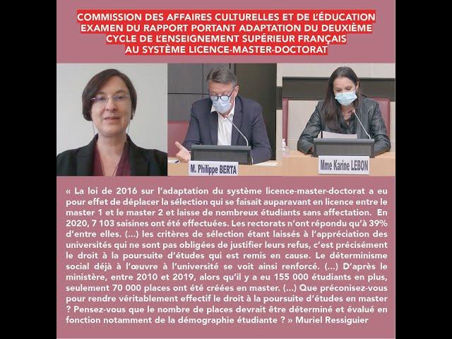 Intervention: rapport sur la loi  portant adaptation du deuxième cycle de l'enseignement supérieur
