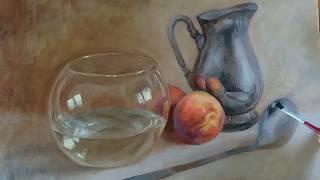 Pintura em óleo sobre tela - vidro e metal
