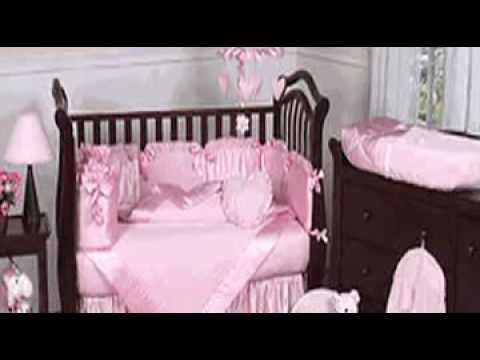 Pink Chenille And Satin Girls Baby Crib Bedding Set By JoJo