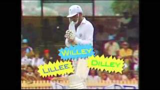 Funny cricket dismissal ! Lillee caught Willey bowled Dilley